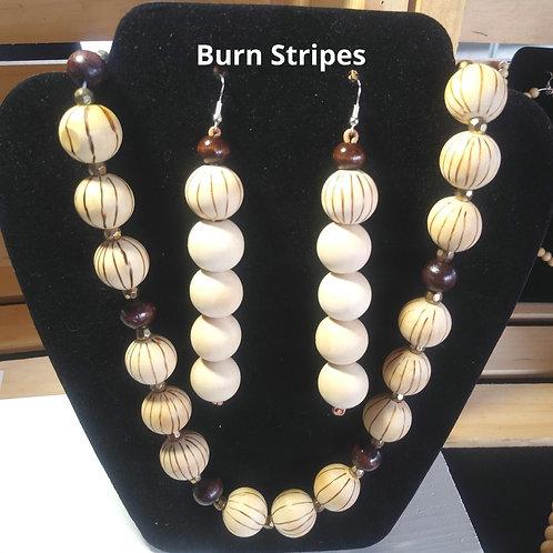 Wood Burned Stripes Necklace Set