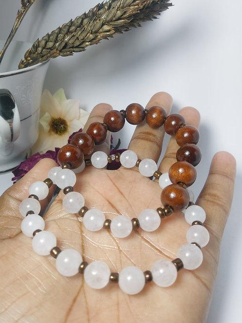 White Stone & Ebony Wood Bracelets