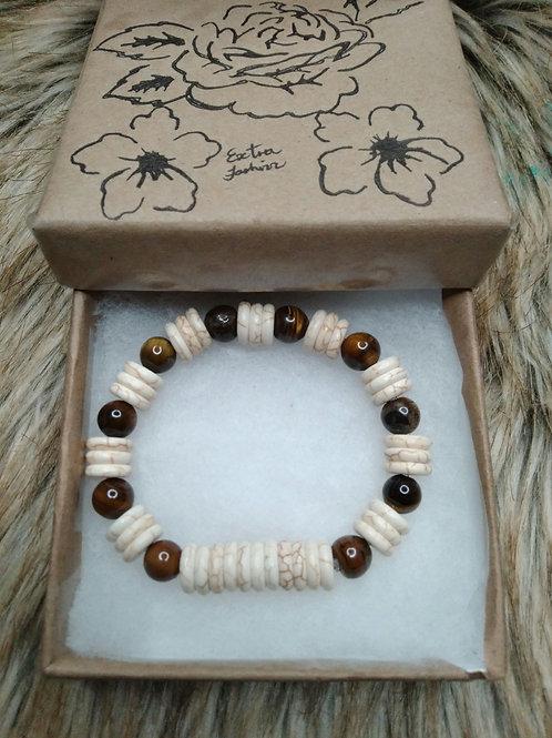 Cream Turquoise and Tiger Eye Energy Bracelet
