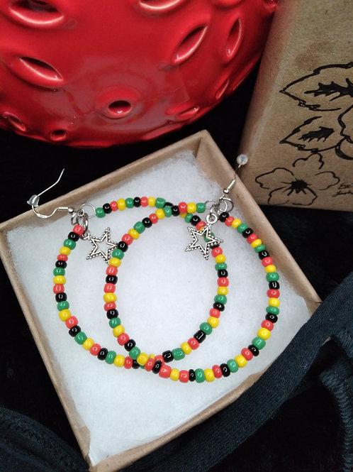 Rastafarian Color Beaded Hoops