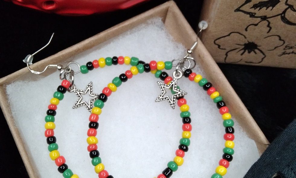 Rastafarian Color Beaded Hoops