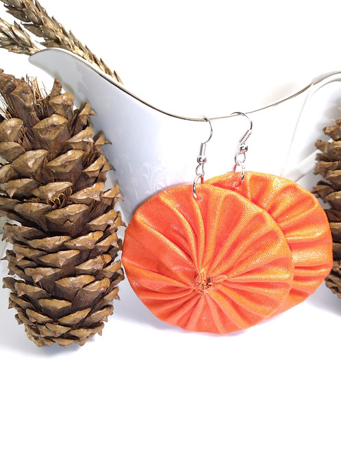 Round Burnt Orange Fabric Earrings
