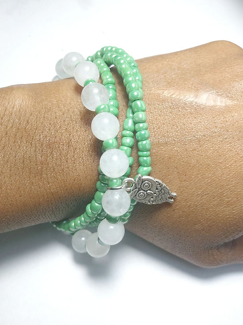 White Jade Stone & Green Seed Bead Wrapped Bracelets