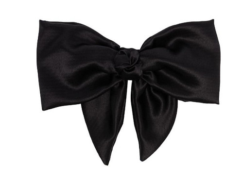 Black Santin Bow Hairclip