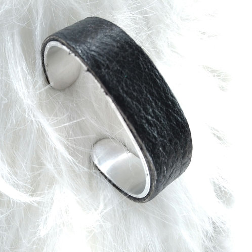 Black Leather Cuff Bracelet