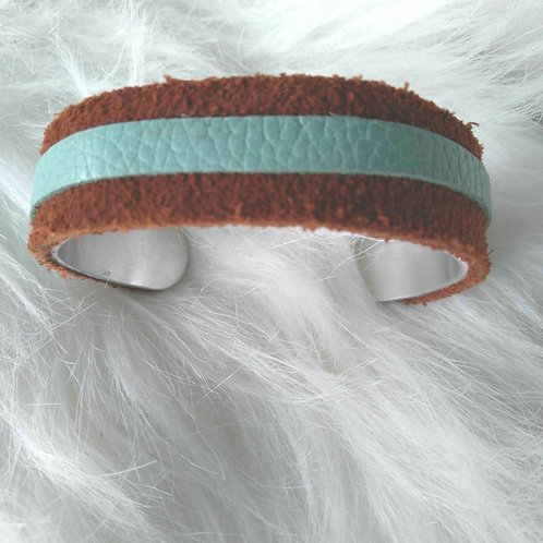 Brown & Teal Leather Cuff Bracelet