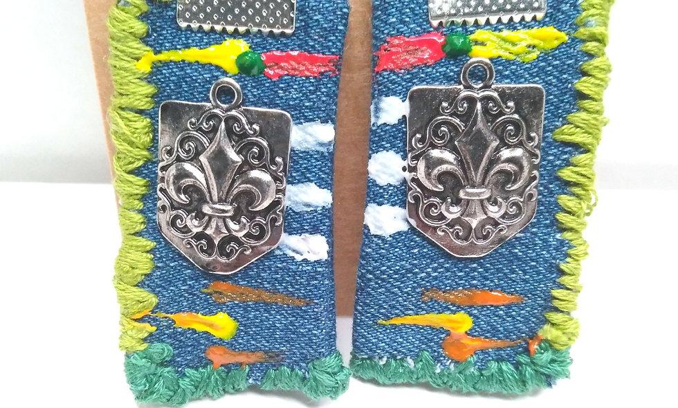 Abstract Art Denim Earrings (green)