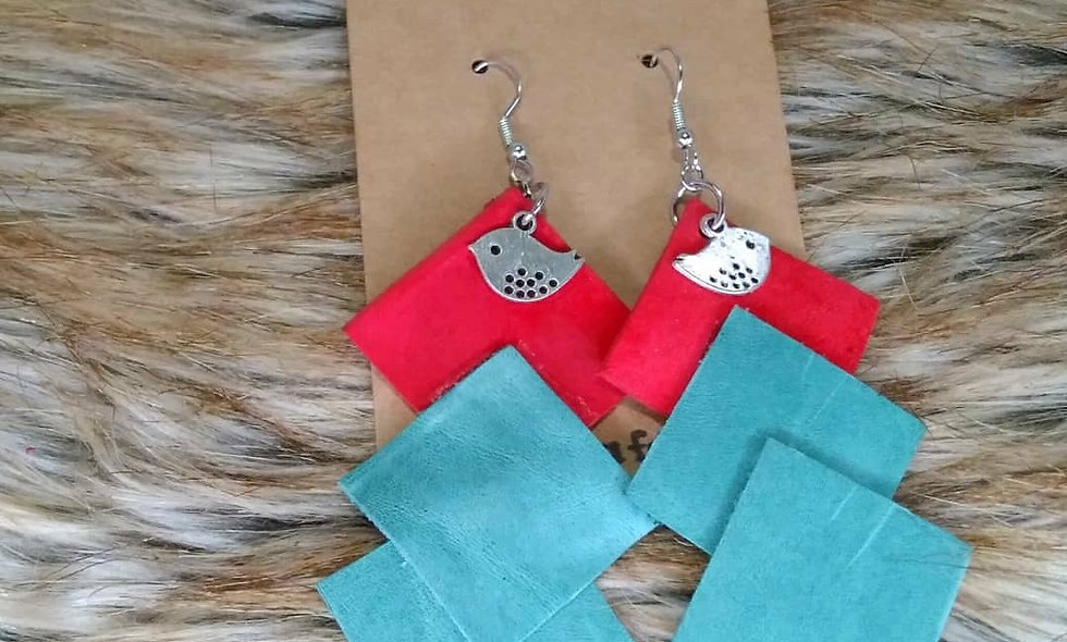 Leather Earrings (Teal&Red)