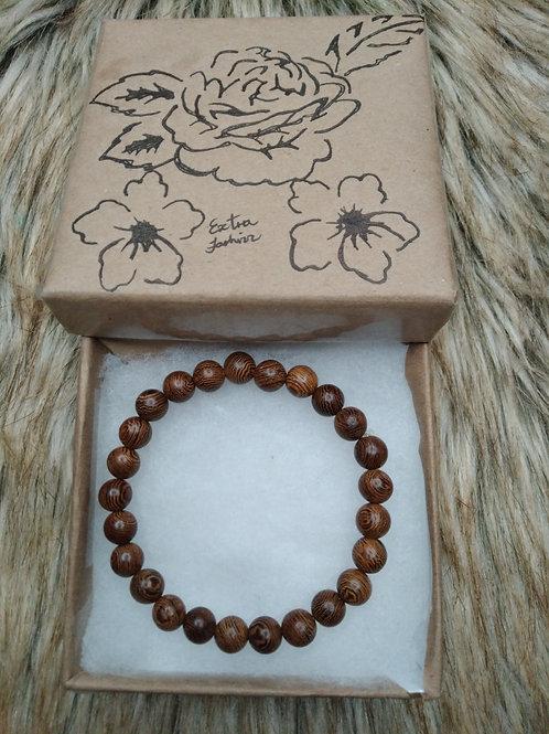 Radial Wooden Bead Bracelet