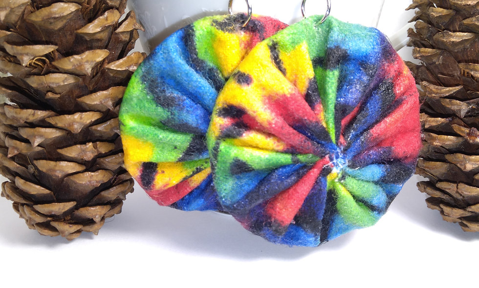 Rasta Color Tie Dye Fabric Earrings