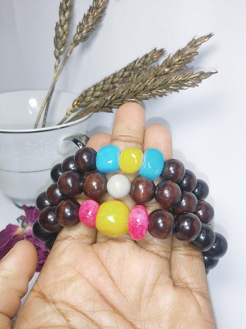 Ebony Trio wood & Stone Bracelets