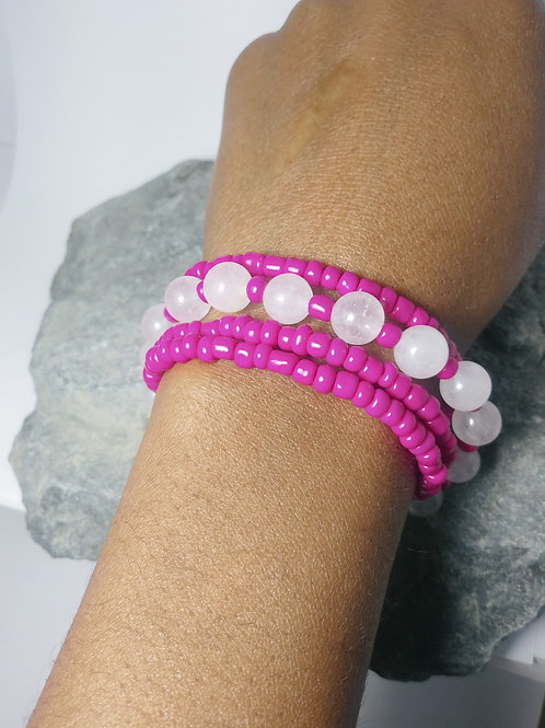 White Jade Stone & Pink Bead Wrapped Bracelets