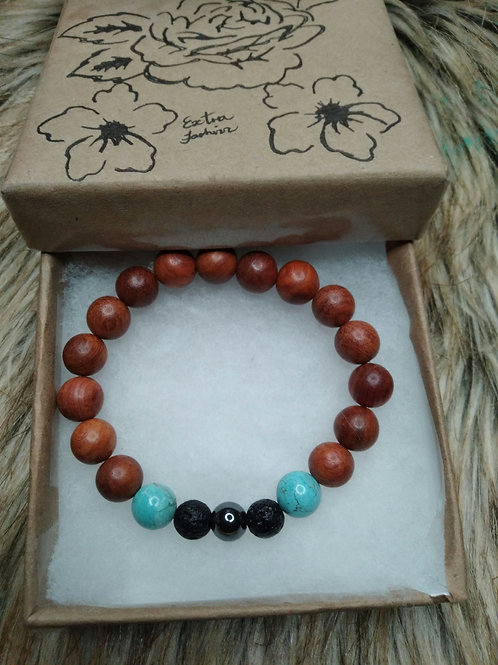 Red wood , Turquoise, Hematite  and Lava Stone Energy Bracelet