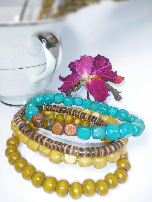 Boho Trio wood Bracelets