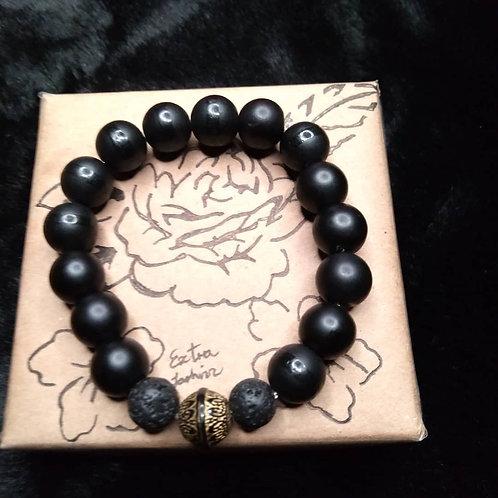 Black Onyx & Lava Stone Energy Bracelet