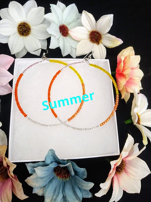 Summer Beaded Hoops