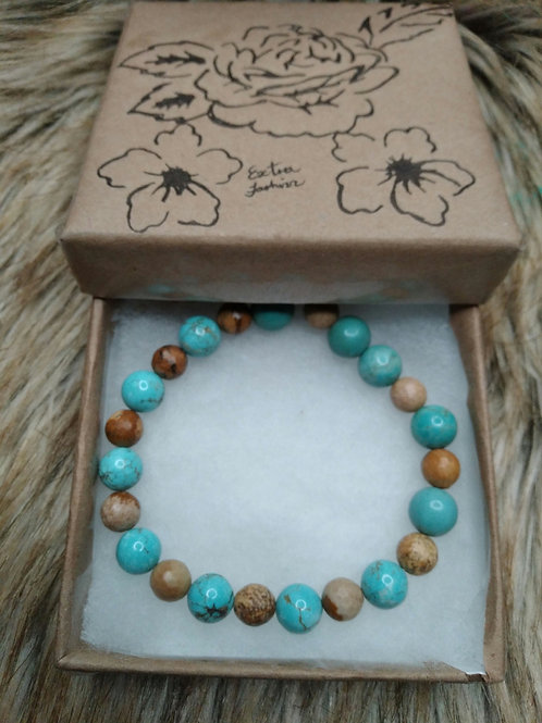 Turquoise and Rhodonite Stone Energy Bracelet