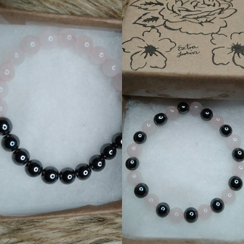 Rose Quartz and Magnetic Hematite Energy Bracelet