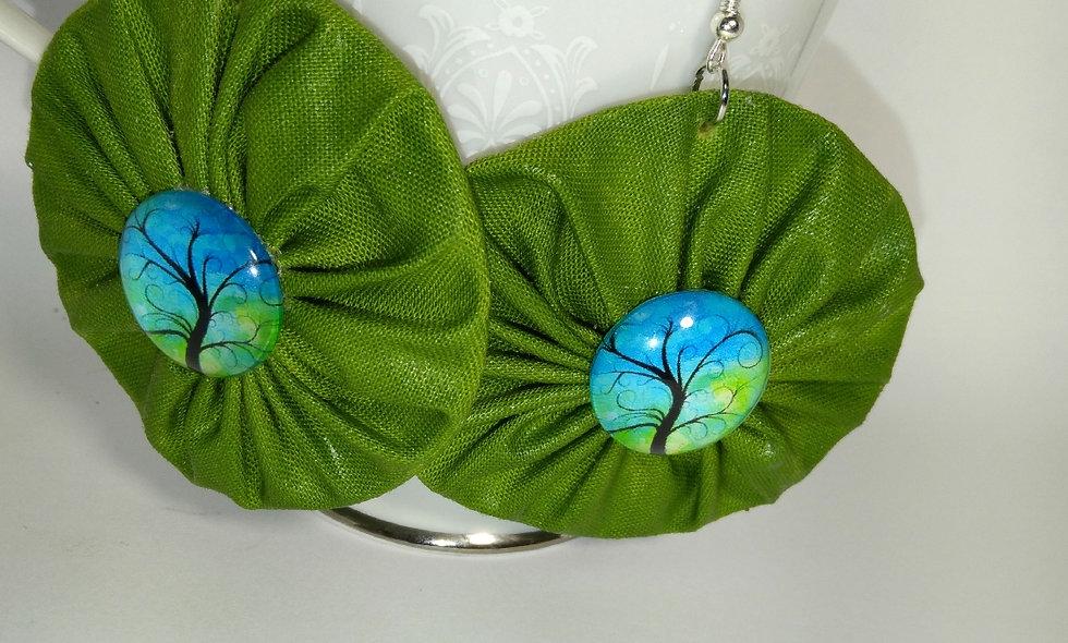 Lime Green  Fabric Earrings