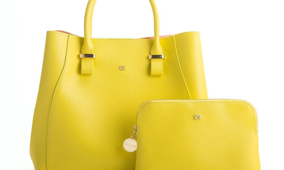 Jane - Lemon Yellow Vegan Leather Satchel