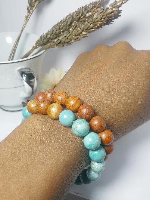 Turquoise &  Wood Beaded Energy Bracelet