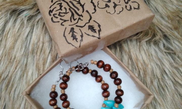 African Turquoise Beaded Hoop Earrings
