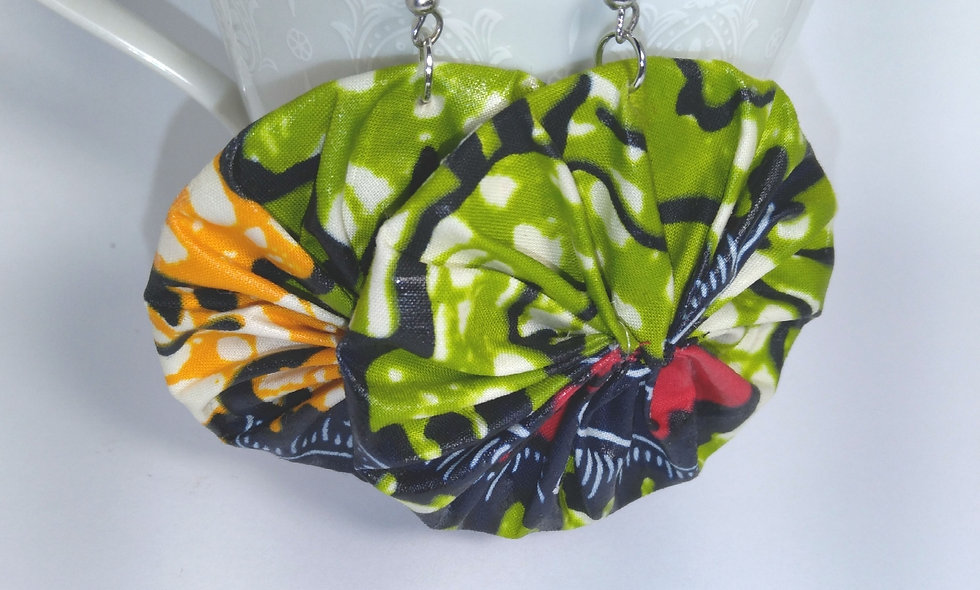 Ankara Round Fabric   Earrings