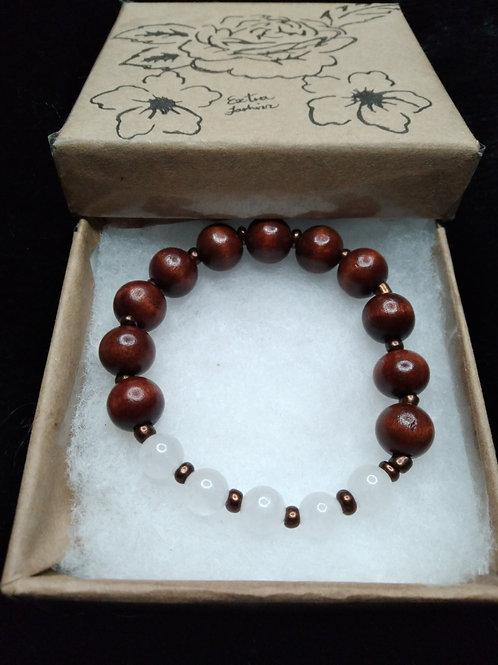 White Quartz Stone & Ebony Wood Energy Bracelets