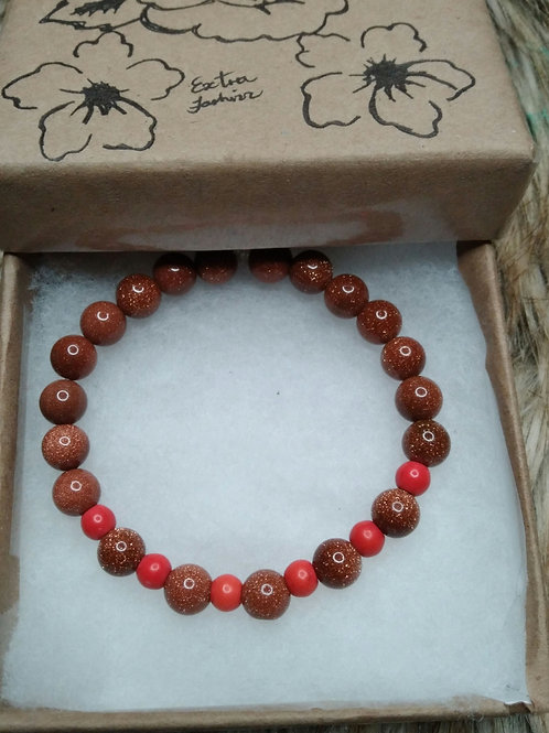 Golden Sand Stone  & Red Turquoise Stone Energy Bracelet
