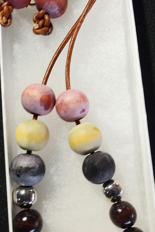 Sheka's Leather & Beads Necklace Set