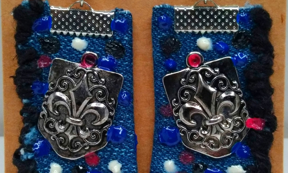 Abstract Art Denim Earrings (Black)