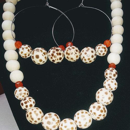 Wood Burned Spots & Orange Necklace Set