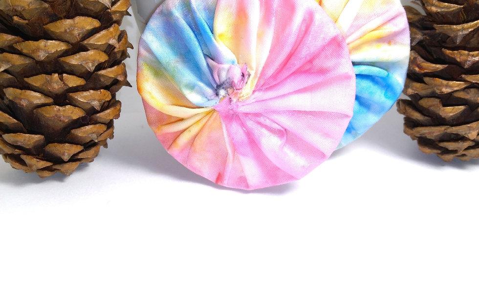 Pastel Rainbow Fabric Earrings