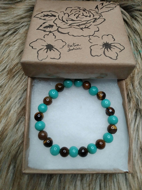 Tiger Eye  Stone and Turquoise Glass Bead Energy Bracelet