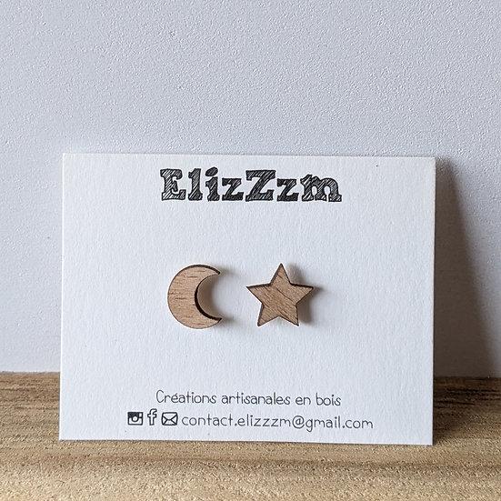 Boucles d'oreilles puces * Lune & étoile *