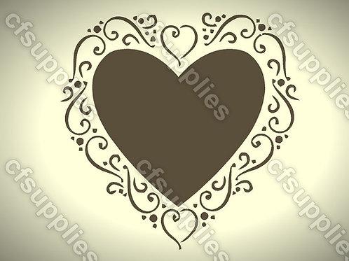 Love Heart Shabby Chic Mylar Stencil