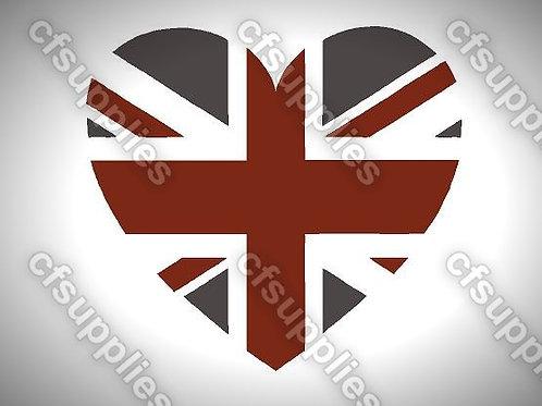 Union Jack Heart Mylar Stencil Sheet