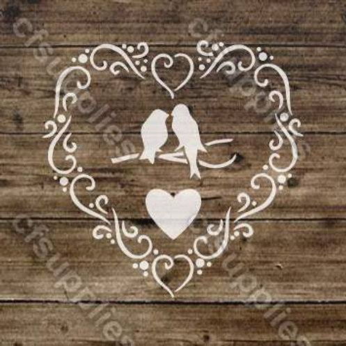 Love Birds Shabby Chic mylar stencil