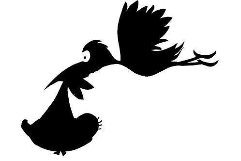 Stork & Baby mylar stencil 125/190 micron in A5/A4/A3 sizes