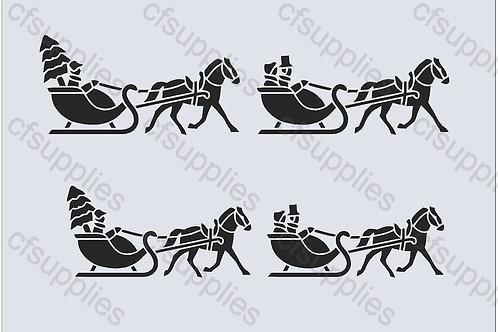 Horse & Sleighs Christmas Mylar Stencil Sheet