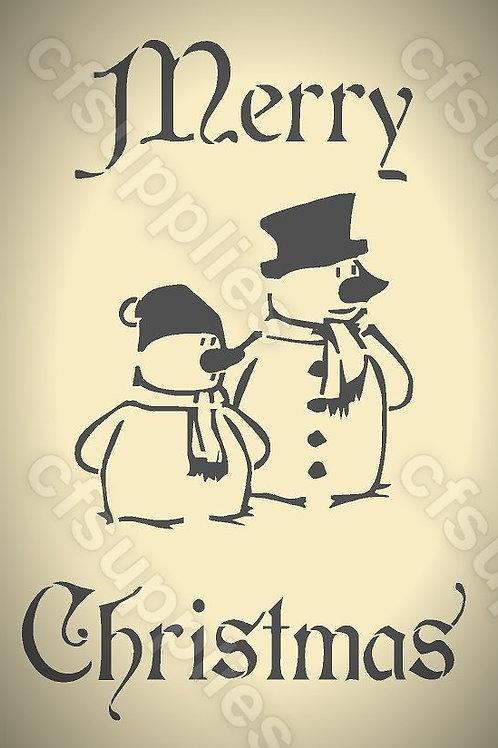 Merry Christmas Snowmen Mylar Stencils