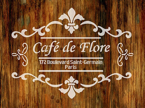 Cafe de Flore Shabby Chic mylar stencil