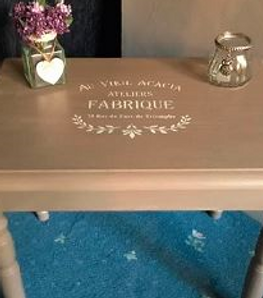 Shabby Chic Mylar stencil on furniture