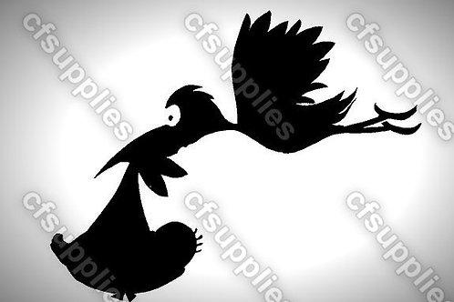 Stork & Baby Mylar Stencil Sheet