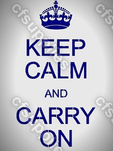 Keep Calm & carry On Mylar Stencil Sheet Design.