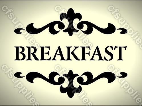 Breakfast Shabby Chic mylar stencil