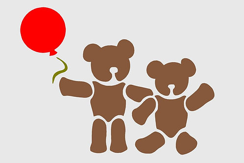 Teddy Bears Nursery mylar stencil 125/190 micron in A5/A4/A3 sizes
