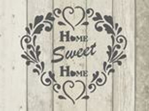 Heart Home Sweet Home Shabby Chic mylar stencil