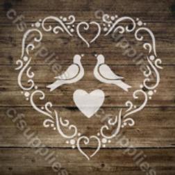 Love birds Shabby Chic French Vintage Mylar Stencil
