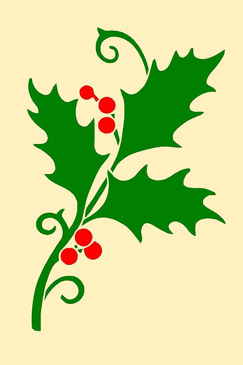 Christmas Holly Mylar Stencil Sheet